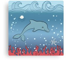 Dolphin swimming underwater Canvas Print