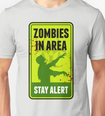 Zombie Warning Sign Unisex T-Shirt