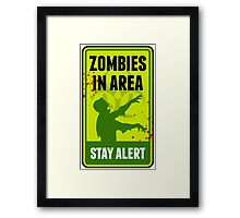 Zombie Warning Sign Framed Print