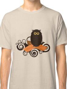 Black Spooky Owl Illustration Classic T-Shirt