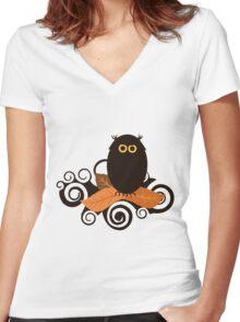 Black Spooky Owl Illustration Women's Fitted V-Neck T-Shirt
