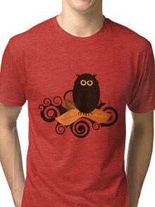 Black Spooky Owl Illustration Tri-blend T-Shirt