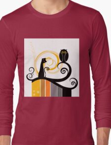 Black Whimsy Cat and Owl Illustration Long Sleeve T-Shirt