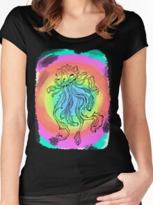 colourful jelly fish  Women's Fitted Scoop T-Shirt
