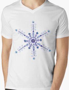 """Whimsical Blue Snowflake """"Eileen"""" Mens V-Neck T-Shirt"""