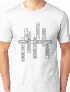 BTS/Bangtan Boys Names - Crossword Puzzle Style Unisex T-Shirt