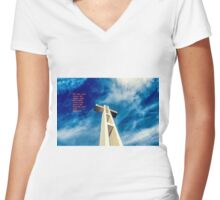 LOOKING UP & WORDS Women's Fitted V-Neck T-Shirt