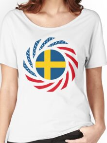 Swedish American Multinational Patriot Flag Series Women's Relaxed Fit T-Shirt