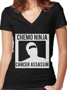 Chemo Ninja Cancer Assassin Women's Fitted V-Neck T-Shirt