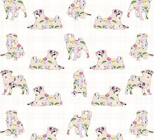 Floral Pugs by LaRochelleD