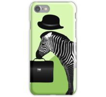 Cool Zebra Yuppie Illustration iPhone Case/Skin