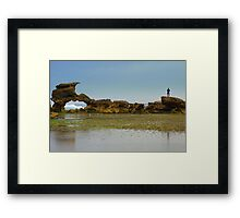 Checking the surf Framed Print