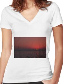 Sunrise after the Super Moon, As Is Women's Fitted V-Neck T-Shirt