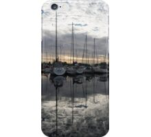Silvery Boat Reflections - the Marina and the Pearly Clouds iPhone Case/Skin