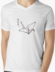 Paper Crane (Pink Sakura) Mens V-Neck T-Shirt