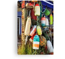 Buoys At The Crab Shack Canvas Print