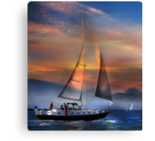 One Sail at Sunset Canvas Print