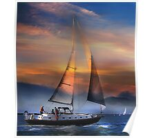 One Sail at Sunset Poster