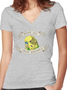 Poop On Your Enemies Women's Fitted V-Neck T-Shirt