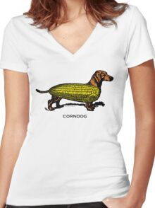 Corndog Women's Fitted V-Neck T-Shirt