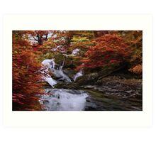 Silver Falls Through Golden Trees Art Print