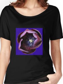 Dark Tulip Macro on Royal Blue Background Women's Relaxed Fit T-Shirt