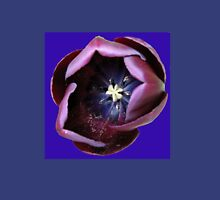 Dark Tulip Macro on Royal Blue Background Womens Fitted T-Shirt