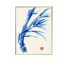 """Wind""  blue sumi-e ink wash painting Art Print"