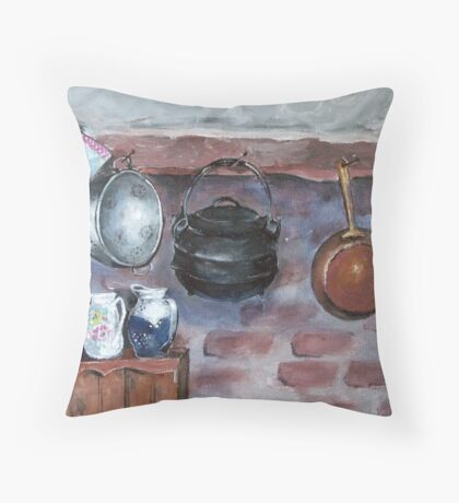 Fireplace still life at Lelieblom Farm Throw Pillow