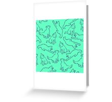 Kitty playing on green Greeting Card