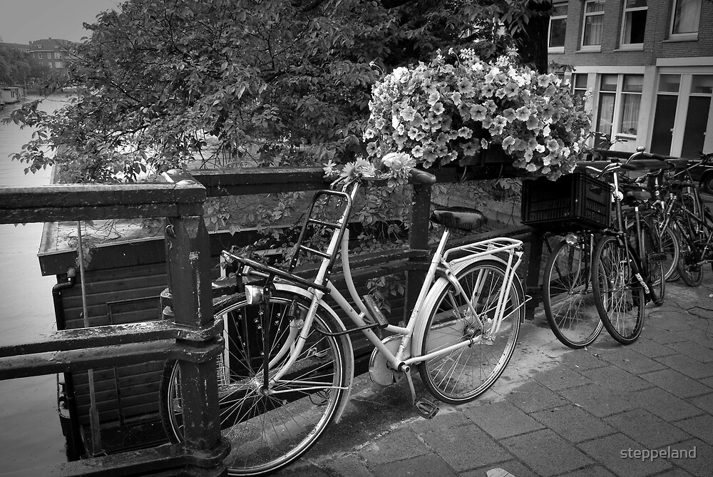 Bike and flowers on a bridge in Amsterdam by steppeland