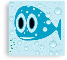 Blue fish cartoon Canvas Print