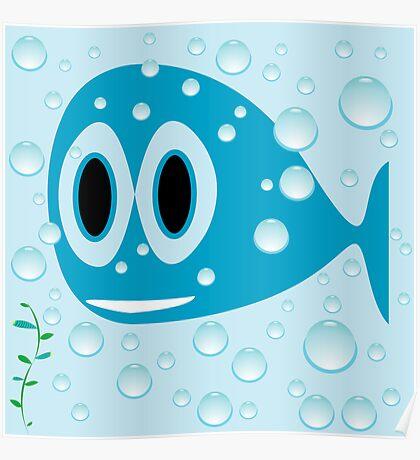 Blue fish cartoon Poster