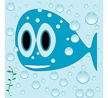 Blue fish cartoon Photographic Print