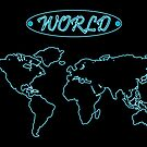 Blue neon world map against black by robertosch