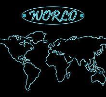 Blue neon world map against black by Laschon Robert Paul