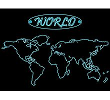 Blue neon world map against black Photographic Print