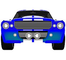 Blue sport car front Photographic Print