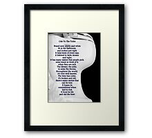 Ode To The Toilet...© Framed Print