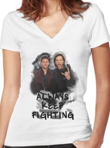 Always Keep Fighting Women's Fitted V-Neck T-Shirt