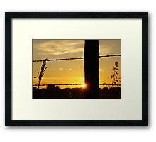 Sunrise fencepost with more color Framed Print