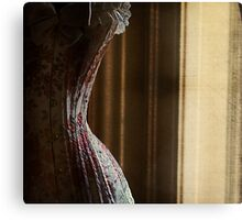 The curtains were heavy as she drew them closed; she remained still and waited Canvas Print