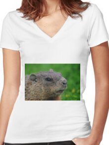 Woodchuck Profile Women's Fitted V-Neck T-Shirt