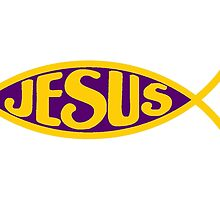 JESUS FISH ICHTHYS PURPLE AND GOLD CHRIST CHRISTIAN by colormecolorado