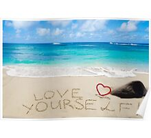 """Sign """"Love yourself"""" on the sandy beach Poster"""