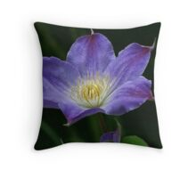 Blue Ice Clematis Throw Pillow