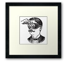 Anitique Vintage Gentleman with Goggles and Moustache Framed Print