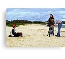 Child Actor Cinematographer Director and Camera on the Beach Canvas Print