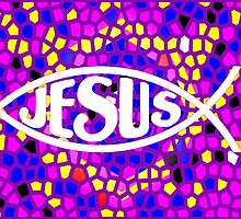 JESUS FISH ICHTHYS PURPLE STAINED GLASS WINDOW by colormecolorado