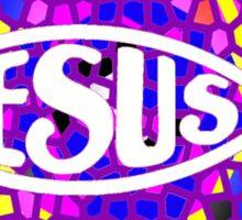 JESUS FISH ICHTHYS PURPLE STAINED GLASS WINDOW Sticker
